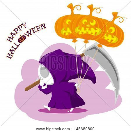 Funny little death with a large scythe and pumpkin air balloon. Title Happy Halloween from bones isolated on white background. Cartoon style. Vector illustration