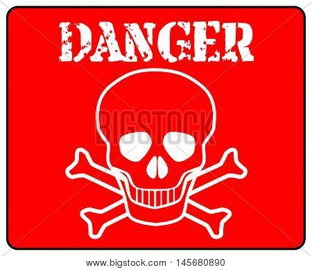 Red danger sign over a white background