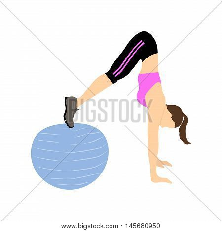 Woman doing abs exercise on fitball. Woman doing fitness exercise on white background. Healthy lifestyle.