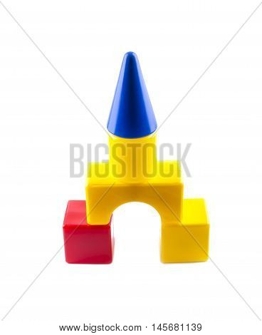 Castle of children's blocks. Tower. House. Toy house.