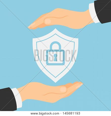 Shield lock protection. Concept of supply, insurance and safety. Hands palm protect shield lock.