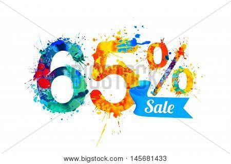 sixty five (65) percents sale. Vector splash paint