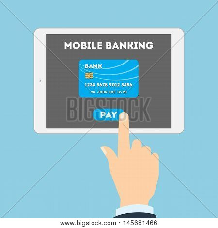Mobile banking concept. Easy transaction with mobile banking. Credit card in tablet. Payment through internet.