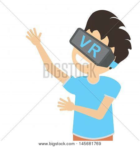 Man in vr. Teen boy or adult man in vr glasses standing on white background. Augmented reality and cyberspace. Video game or 3D film.