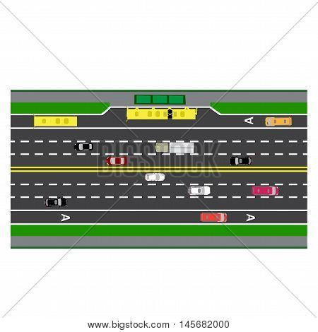 Road infographics. Plot road, highway, street with the bus stop. With different cars. loaded maps of roads and public transport. Top view of the highway. Vector illustration: