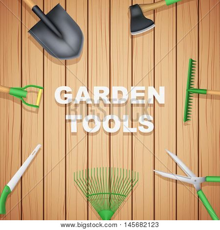 Background of Season Garden tools on wood backdrop. Taking care of a garden or a farm. Vector Illustration