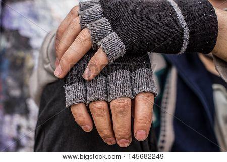 Homeless Man Hands