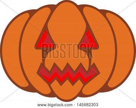 Abstract graphic Halloween pumpkin with evil grin