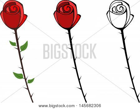 Set of red graphic roses with thorns
