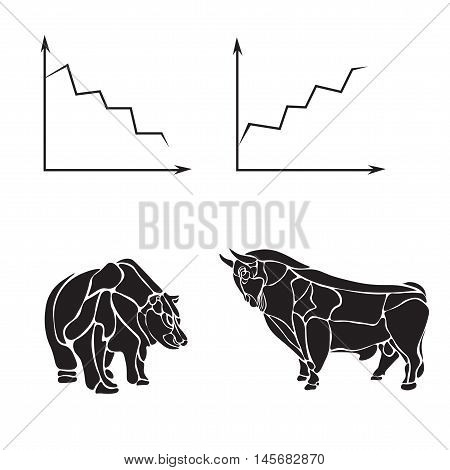 stock market, business vector logo design template. money, banking or bull and bear icon. flat illustration vector illustration