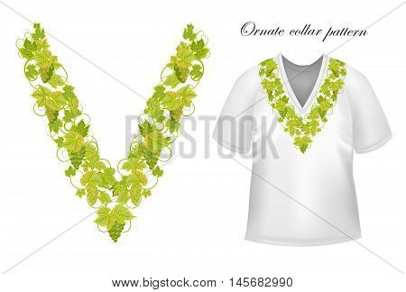 Neck print vector floral design. Fashion grapes ornament collar. Vector illustration. Green