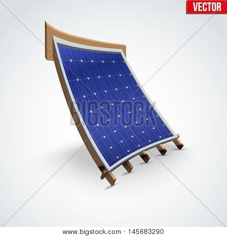 Icon demonstration solar panel cover on the roof. Cartoon deformation style. Vector Illustration isolated on white background.