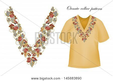 Vector design for collar shirts, blouses, T-shirt. Grapes branch. Colorful embroidery. Seamless border bonus. Gray brown