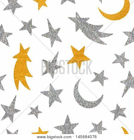 Gold and silver textured cosmic seamless pattern of the star, moon and comet on white background. Design element for background, textile, paper packaging, wrapping paper and other. Vector illustration