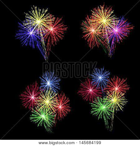 A set of colorful fireworks in honor of the holiday on a black background. Vector illustration.