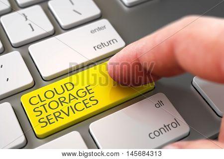 Finger Pushing Cloud Storage Services Yellow Key on Laptop Keyboard. 3D.