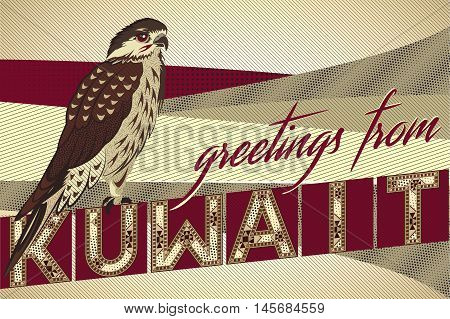 Greetings From KUWAIT Falcon Card - Block Ornamental Marquetry Style Typography With A Falcon Over A Sand Dunes Background