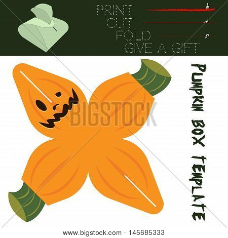 Box cut in the form Pumpkin, for candy on Halloween. Easy for installation - print, cut along the solid lines, fold along the dotted lines, give a gift.