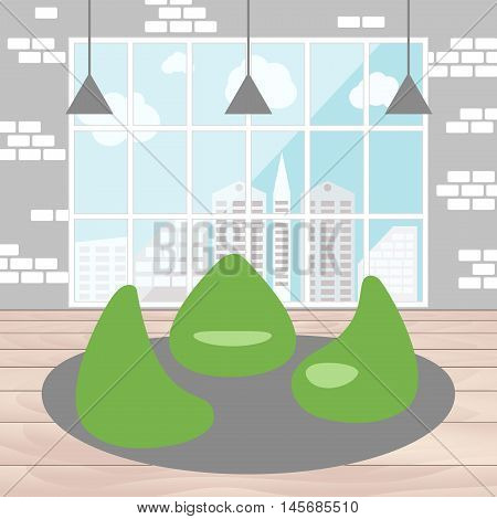 Bean bag chair with city view from window. Good idea for office workplace interior co working freelance center. Open space. Flat concept vector illustration.