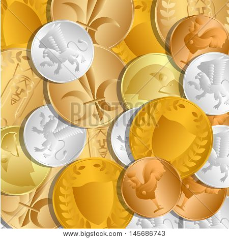 The background of the coins. The treasure of gold and silver coins lying loose on each other. Vector Image.