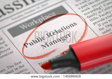 Public Relations Manager - Jobs Section Vacancy in Newspaper, Circled with a Red Highlighter. Blurred Image. Selective focus. Job Seeking Concept. 3D Rendering.