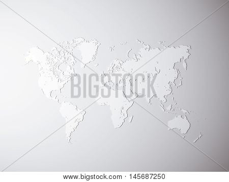 Blank Grey Political World Map. 3D rendering. Empty concrete wall background. High textured row materials. Mockup ready for business information. Horizontal