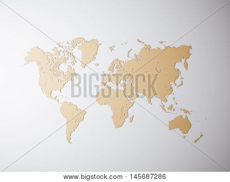Blank Craft Political World Map. 3D rendering. Empty concrete wall background. High textured row materials. Mockup ready for business information. Horizontal