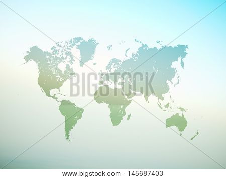 Blank Green Color Texture Political World Map. 3D rendering. Empty Concrete wall background. High textured row materials. Mockup ready for business information. Horizontal