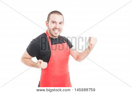 Cheerful Clerk Celebrating Triumph Or Success