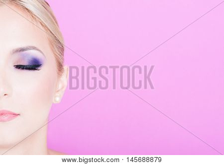 Half Face Of Woman With Professional Trendy Make-up