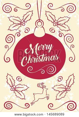 Merry Christmas Ornate Illustrated Decoration Greeting Card