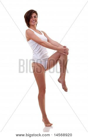 Woman Holding Her Knee Up With Her Hands