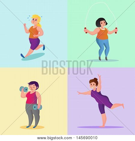 Obese Young Women Running Workout Yoga With Dumbbells Jump Rope Funny Cartoon Vector Illustration