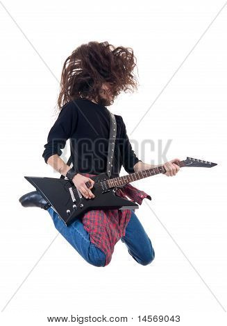 Heavy Metal Guitarist Jumps In The Air