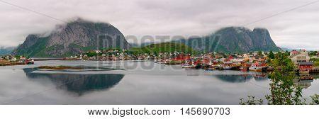 Foggy weather in fishing village on Lofoten Islands in Norway. Big size panorama