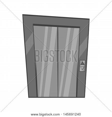 Door of elevator icon in black monochrome style isolated on white background. Interior design symbol. Vector illustration