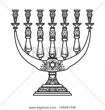 Jewish religious symbol menorah isolated on white background.