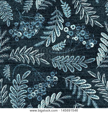 Vector Denim floral seamless pattern. Jeans background with berries and leaves. Blue jeans cloth background