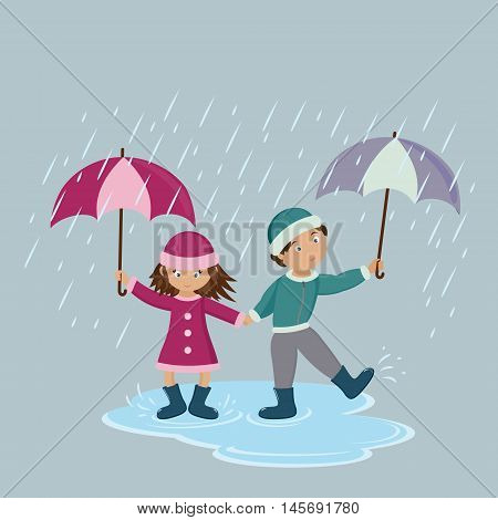 Children with umbrellas in the rain. Vector illustration