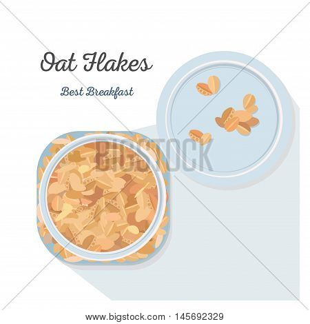Oat Flakes in a glass jar. Vector illustration, flat lay.