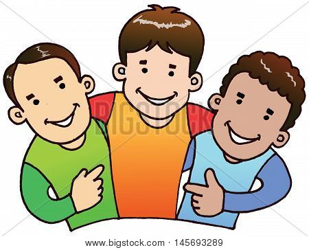 3 boys in illustration vector. They were happy together and also need each others as a good friend.