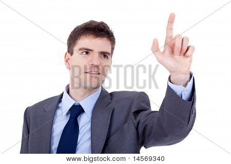 Business Man Pushing An Imaginary Button