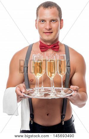 The Waiter Brings The Champagne For Women