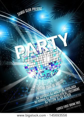 Vector Party Flyer Design with disco ball on shiny background. Blue Eps10 illustration.
