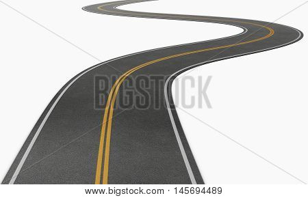 Winding road disappearing into the distance. Conceptual image. 3d illustration.