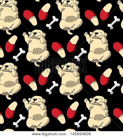 Puppy cute rest sleep relax seamless pattern dark wallpaper. Color vector illustration. EPS8