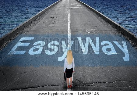 Easy way message on road and business woman
