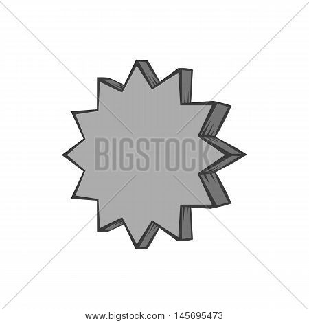 Scalloped star icon in black monochrome style isolated on white background. Figure symbol. Vector illustration