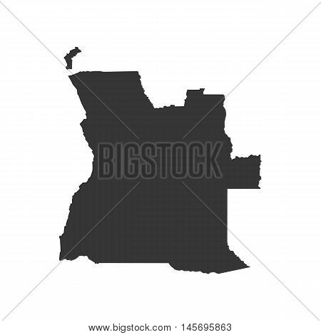 Angola map silhouette illustration on the white background. Vector illustration
