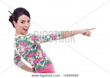 Surprised Woman Pointing To The Side